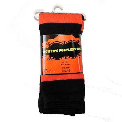 HALLOWEEN* (1) Pair WOMEN'S FOOTLESS TIGHTS One Size ORANGE+BLACK STRIPES osfm - Halloween Orange Striped Tights