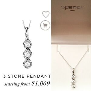 3 Stone pendant with necklace from Spence Diamonds