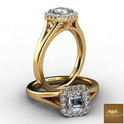 Asscher Diamond Engagement Halo Pre-Set Ring GIA F VS1 18k Yellow Gold 0.92Ct