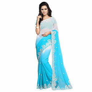 Indian Party Wear Designer Bollywood Faux Chiffon Embroidered Saree With Blouse available at Ebay for Rs.770