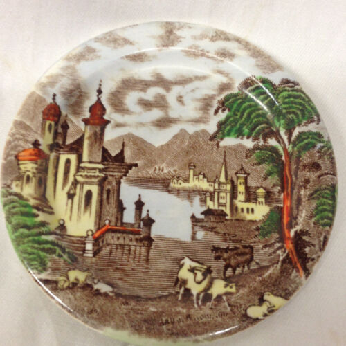 "MALING CT & SONS ENGLAND 4"" COASTER BUTTER PAT MLG4 BROWN & MULTI-COLORED"