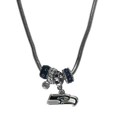 Seattle Seahawks Euro Bead Necklace NFL Football Licensed Rhinestones Charm](Football Bead Necklace)
