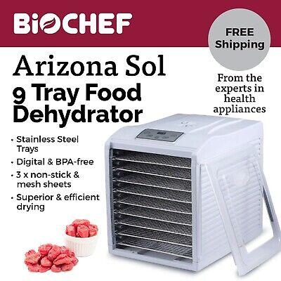 Best Food Dehydrator BioChef Arizona Sol 9 Trays Beef Jerky, Dried Fruit-