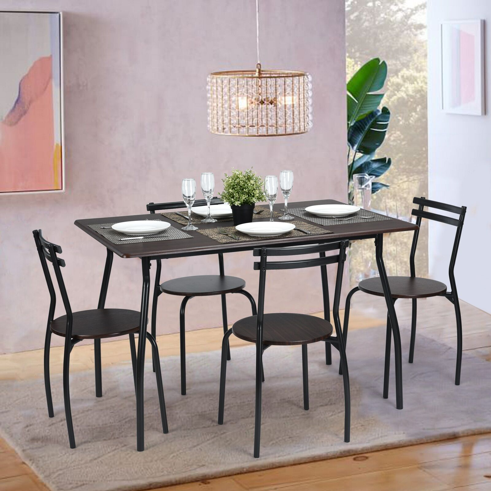 5pcs dining table and 4 chairs home table seat kitchen set country