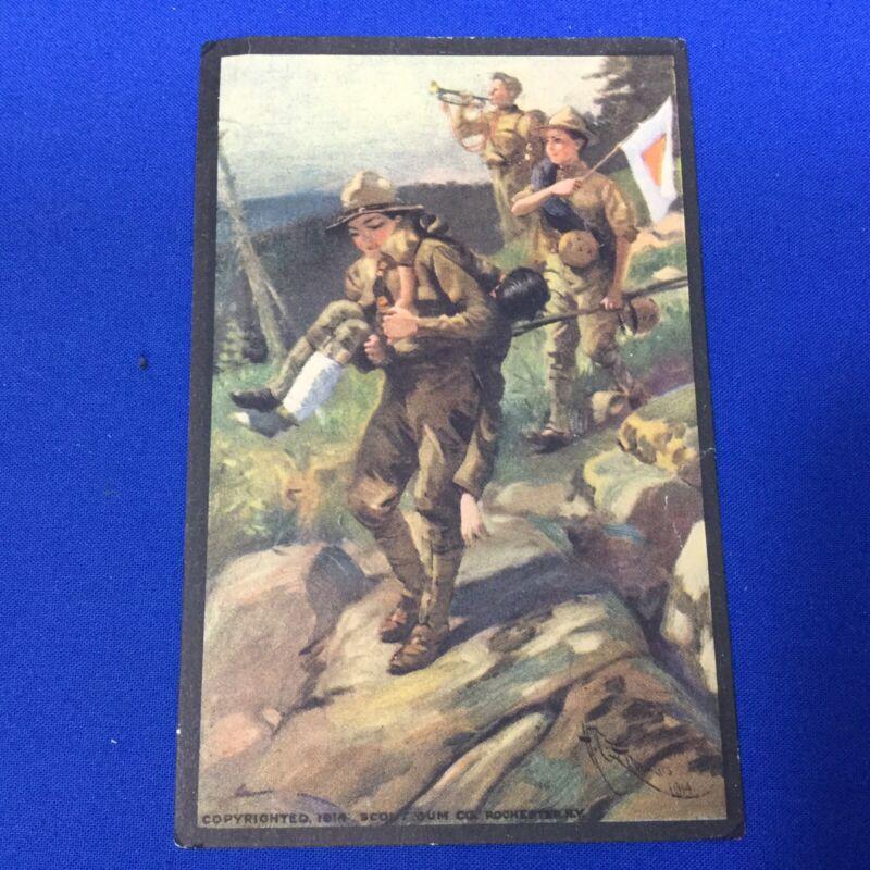 Boy Scout Vintage Postcard Toting