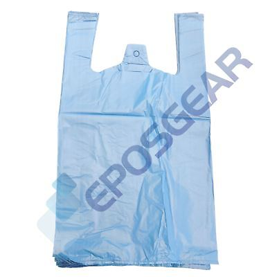 1000 Jumbo Blue Strong Recycled Eco Plastic Vest Shopping Carrier Bags 22mu