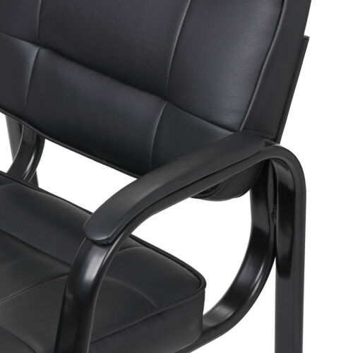 Black Leather Guest Chair Reception Waiting Room Office Desk Side Chairs Classic 6