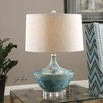 Blue Glaze Ceramic Table Lamp - CHASIDA BLUE TIE DYED CERAMIC GLAZE TABLE LAMP CRYSTAL DETAIL LIGHT UTTERMOST