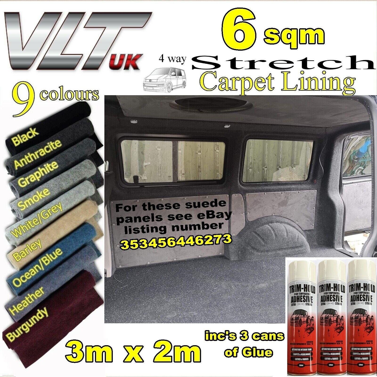 Car Parts - CAMPER VAN CAR CARPET LINING 4 way stretch VW T 6 5 1 TRIM TRANSIT RACE DAY 6sqm