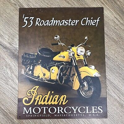 '53 Roadmaster Chief TIN SIGN vtg indian motorcycles metal poster wall decor 603