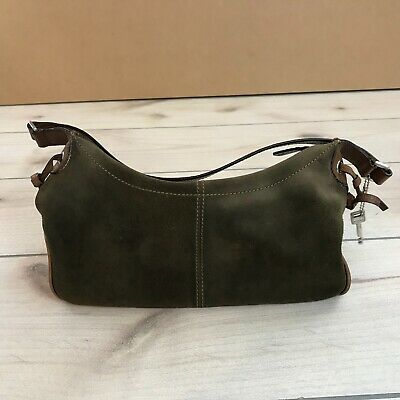 Fossil Green Suede and Leather Purse Shoulder Strap Zip -