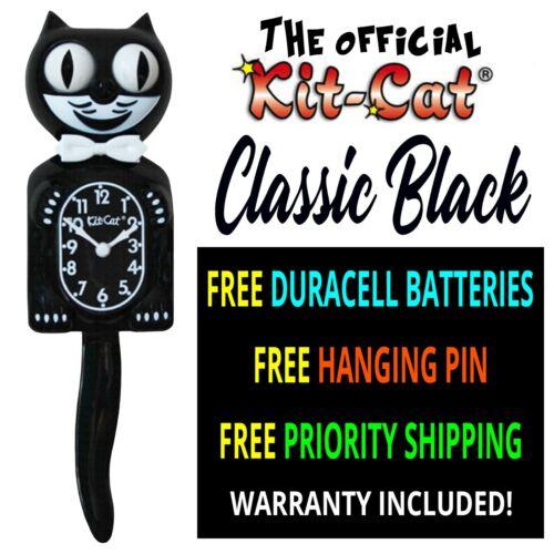 "CLASSIC BLACK KIT CAT CLOCK 15.5"" - MADE IN USA Klock - Free Priority Shipping!"