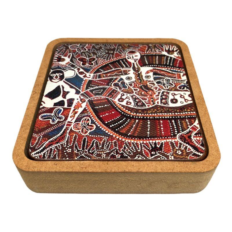 Rainbow Serpent Aboriginal Coaster Set of 6