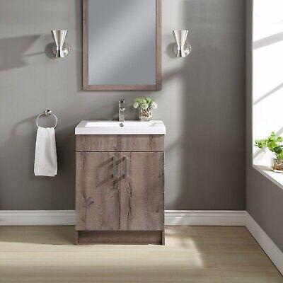 "24""Farmhouse Sink Bathroom Vanity Cabinet Sink Faucet Vessel Set Rustic Gray NEW"