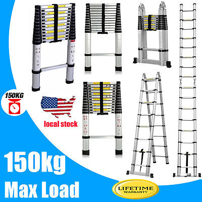 16.5ft Folding Aluminum Telescoping Collapsible Roof Climb Ladder 12.5ft 10.5ft