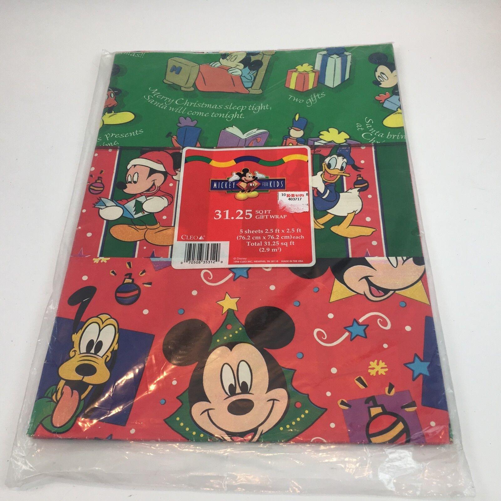 Vtg 90s Disney Mickey for Kids Christmas Cleo Gift Wrap Pape