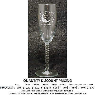 Engraved Champagne Flutes (Personalized Champagne Flutes Custom Engraved Flute Glass Formal Dance)