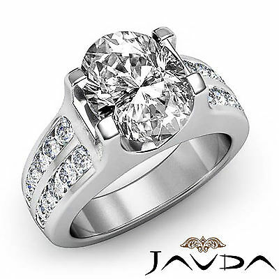 2 Row Channel Prong Setting Oval Diamond Engagement Ring GIA I Color SI1 1.62Ct