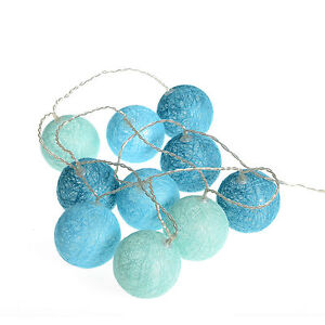 Guirlande lumineuse led 10 lampions bleu int rieur boule for Guirlande lumineuse interieur deco
