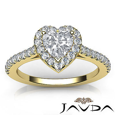 Halo French Pave Set Heart Cut Diamond Engagement Ring GIA Certified G VS2 1 Ct 3