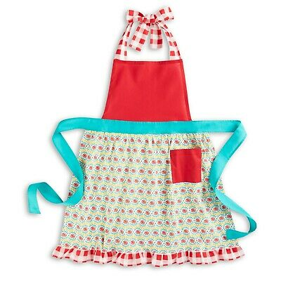 Pioneer Woman Daisy Chain Multi Burst Floral Check Red Cotton Kitchen Apron NEW