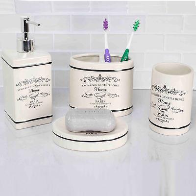 Home Basics Paris White Ceramic Bathroom Accessories 4 Piece Set ()