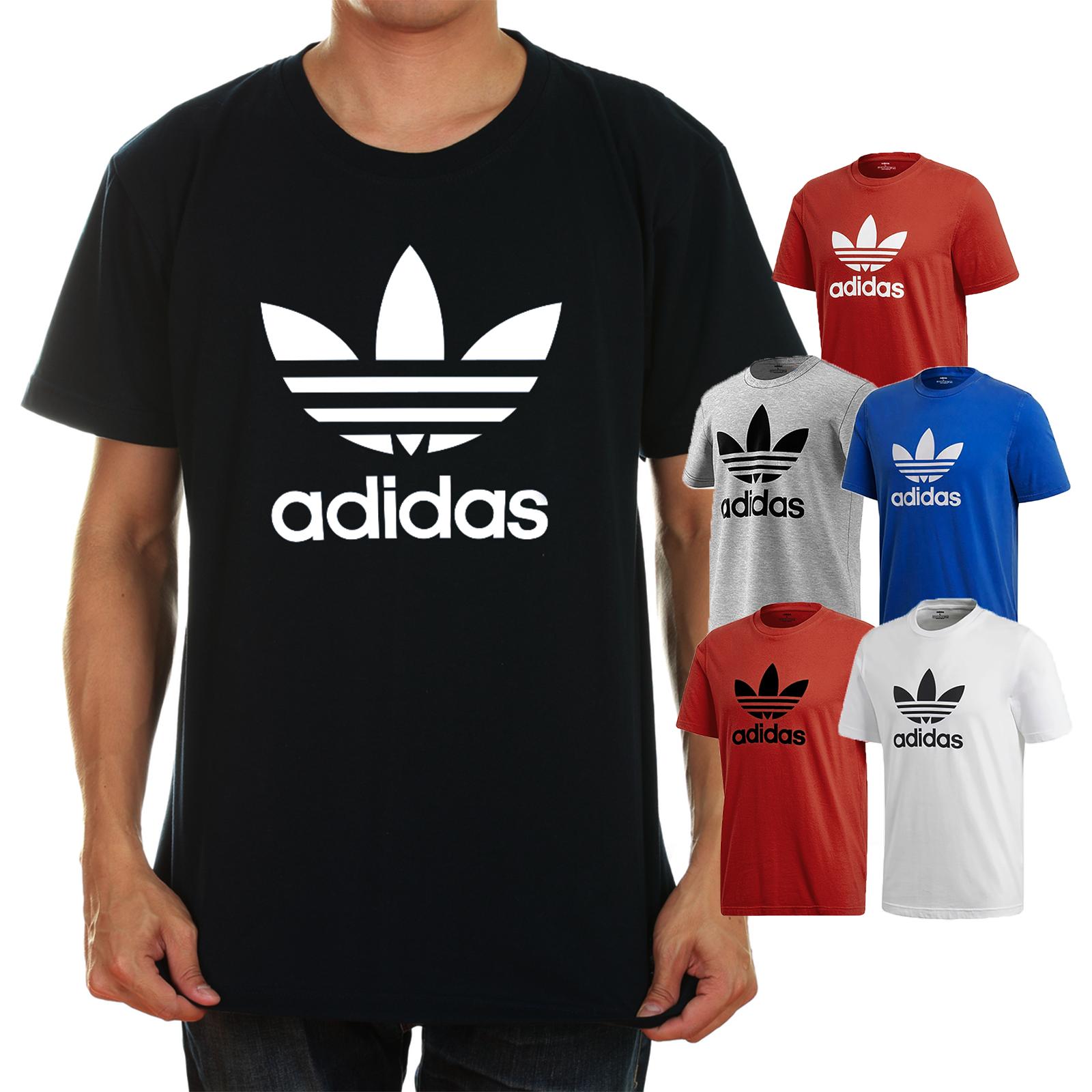 Adidas Men's Short-Sleeve Trefoil Logo Graphic T-Shirt Gray Blue Black Red White