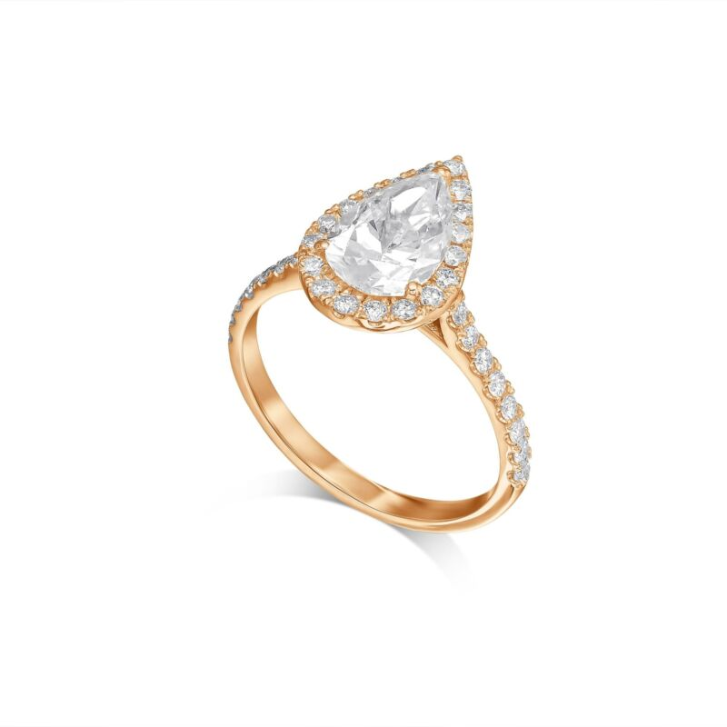 Real Diamond Engagement Ring E/si1 1.50 Ct Pear Cut 14k Rose Gold
