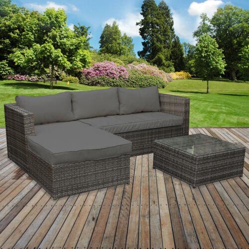 Garden Furniture - Rattan Garden Corner Sofa Table Chair Furniture Set Grey Patio Outdoor Seating