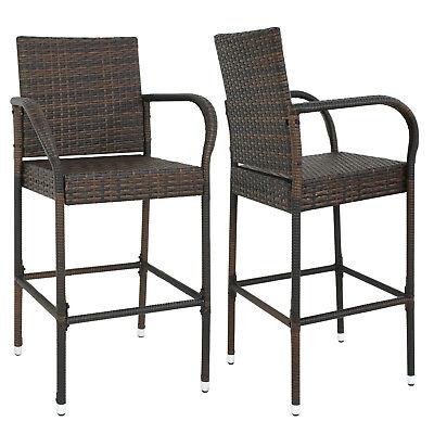 Garden Bar Chair (Outdoor Wicker Bar Stool Set of 2 Rattan Bar stools Dining Chair Garden Club )
