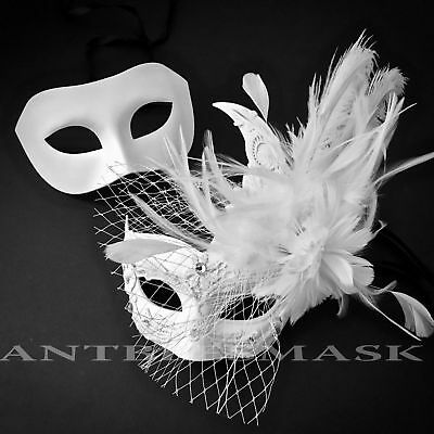 New White Netting Brocade Lace Feather & Masquerade Engagement Wedding Masks