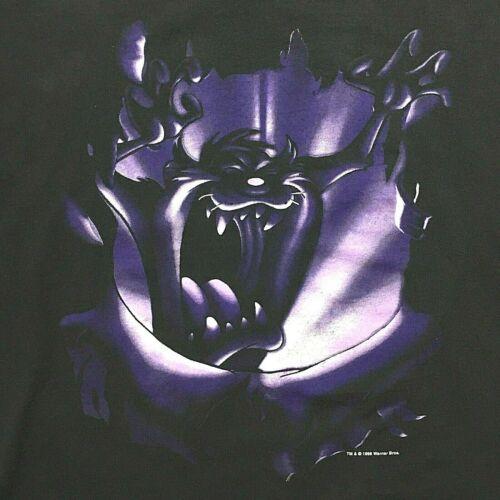 Vintage 1996 Looney Tunes TAZ Tasmanian Devil Black T-Shirt Size XL 2 sided RARE
