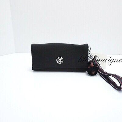 NWT Kipling AC8538 RUBI Snap Long Wallet Wristlet Polyamide Black Varsity Strap