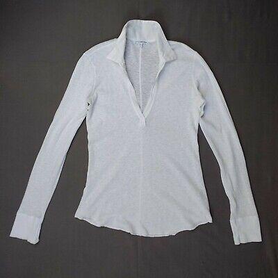 James Perse - White Long Sleeve V Neck Collar Shirt - Small 1 -100% Cotton Sheer