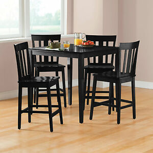room set 5 piece counter height table and chairs wood furniture black