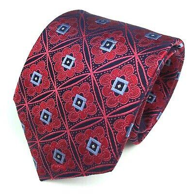 "Ike Behar Tie Red Blue Navy Geometric Elegant Plaid 100% Silk Mens Necktie 59"""