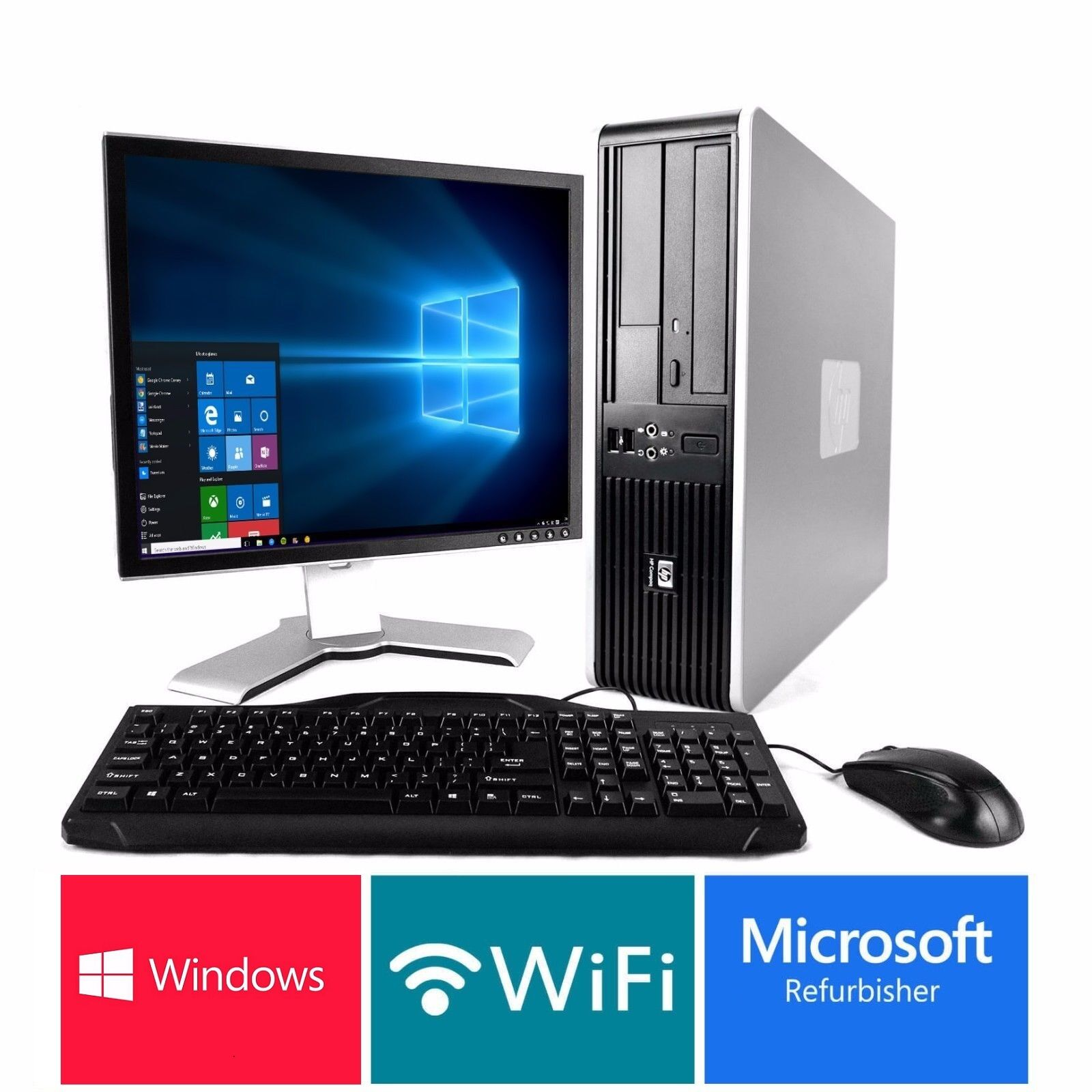 Fast hp desktop pc computer core 2 duo 4gb 17 for Windows 10 pc