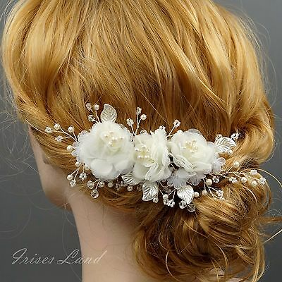 Bridal Hair Clip White Silk Flower Crystal Pearl Headpiece Wedding Accessory 269