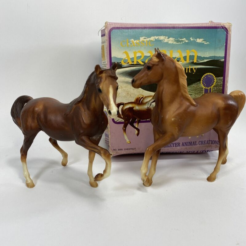 BREYER Classic ARABIAN With Original Box NO. 3055 Chestnut 2 Horse Set