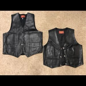 Leather motorcycle vests. Large and Medium