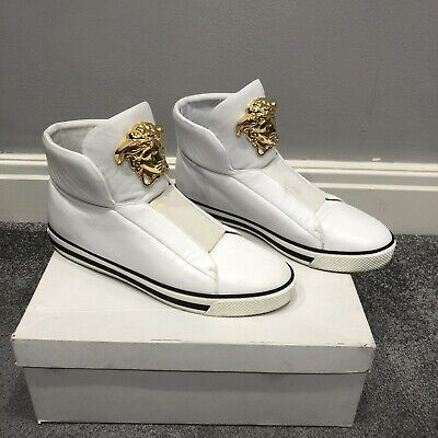 Versace High Top Trainers Sneakers UK 9 Medusa White Leather Rare Shoes