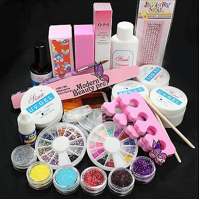 20 in1 DIY Acrylic Glitter Powder Glue File Nail Art UV Gel Tips Decorations Set