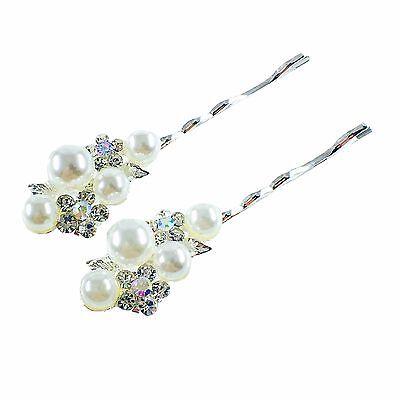US Bobby Pin Rhinestone Crystal Hair Clip Hairpin Wedding Bridal Pearl Silver