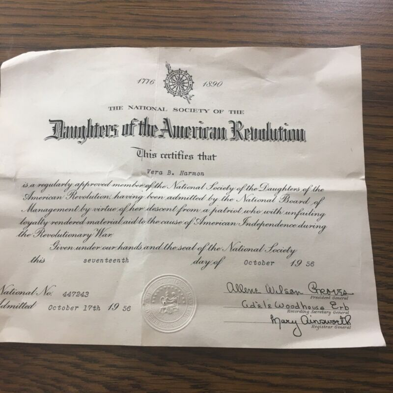 1956 Daughters Of The American Of The American Revolution Member Certificate