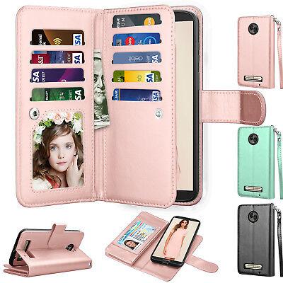 For Motorola Moto Z3 Play / Moto Z Play 3nd Gen Leather Wallet Case Holder Cover