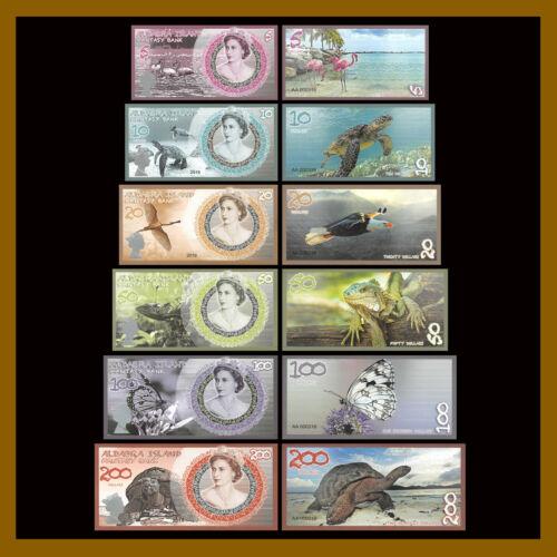 Aldabra Island 5 - 200 Dollars (6 Pcs Set), 2019 Matching S/N QEII Polymer
