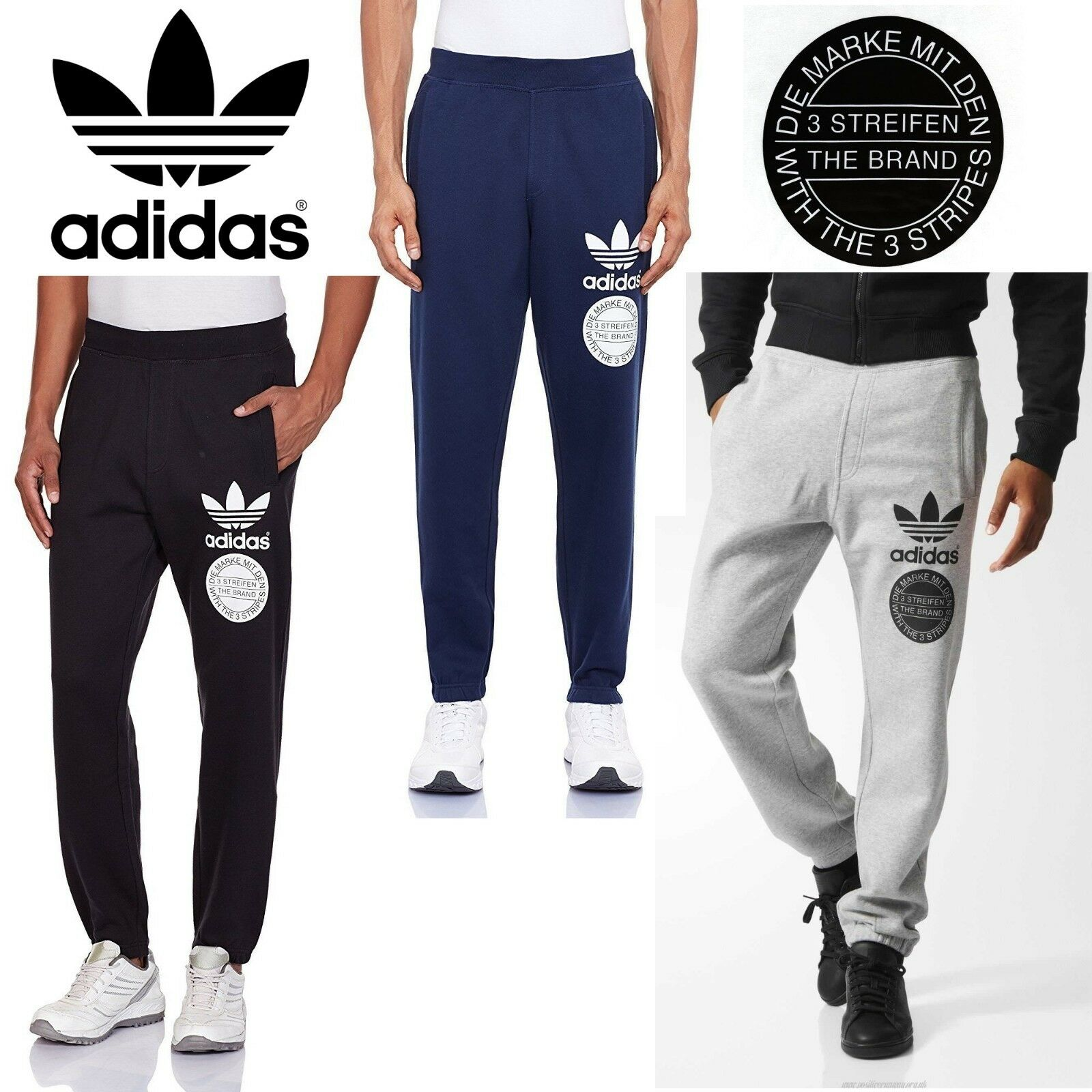 Details about Adidas Originals Men's Trefoil Graphic Street Tracksuit Pants Sports Trousers
