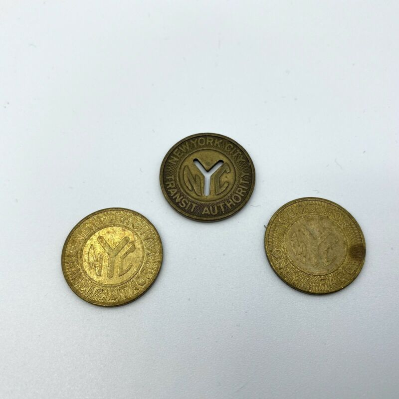 """3 Vintage New York City MTA Subway Tokens 1 Is  """"Y"""" Cut Transit Authority"""