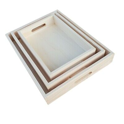 Wooden Serving Trays, Set of 3 Different Sizes, -  Decoupage / Unpainted