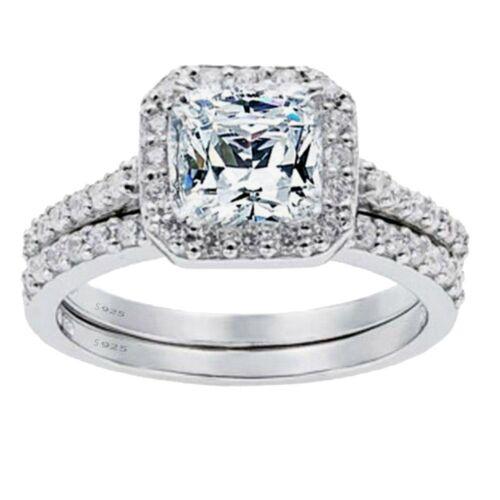 2 Pcs Womens Princess Cut 925 Sterling Silver Bridal Wedding Engagement Ring Set